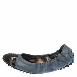 Tod's Ash Blue and Brown Leather Cap Toe Buckle Detail Scrunch Ballet Flats Size 37 Tod's