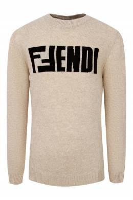 Бежевый джемпер с логотипом Fendi Kids 690164859