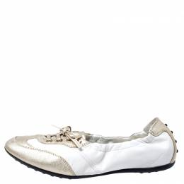 Tod's White/Gold Leather Gomma Lace Slip On Sneakers Size 37.5 Tod's