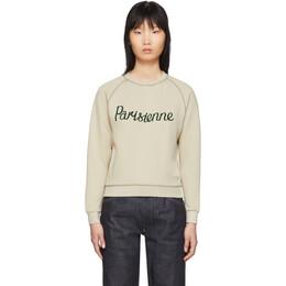 Maison Kitsune Beige Parisienne Sweatshirt 192389F09802304GB