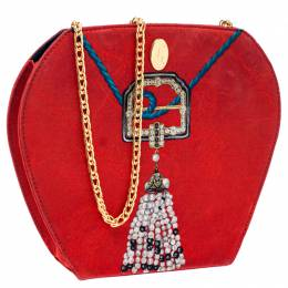 Cartier Red Printed Fabric Chain Clutch Bag 242105