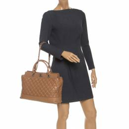 Chanel Beige Quilted Leather CC Shopper Tote 241239