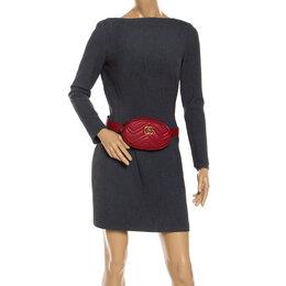 Gucci Red Matelassé Leather GG Marmont Belt Bag 241801