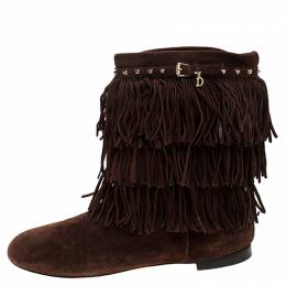 Dior Brown Suede Fringe Studded Trim Ankle Length Booties Size 37 244033