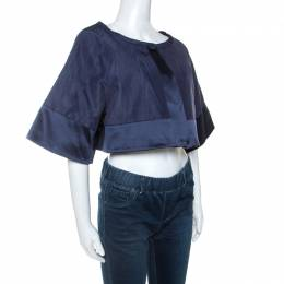 Temperley Blue Cotton And Satin Trim Palais Bolero L 243033