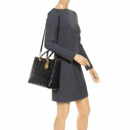 Dior Black Cannage Quilted Leather Large Lady Dior Tote 242793