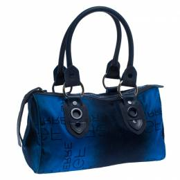 Gianfranco Fere Blue/Black Ombre Logo Print Fabric Bowler Bag Gianfranco Ferre 240774