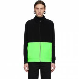Harris Wharf London Black and Green Polaire Vest C9330MHP-Z