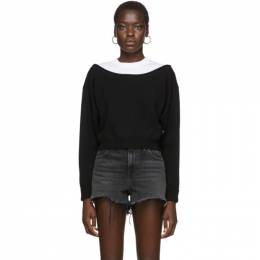 T By Alexander Wang Black Cropped Bi-Layer Sweater 201214F09801104GB