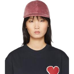 Ami Alexandre Mattiussi Pink Corduroy Flat Brimmed Cap 192482F01600301GB