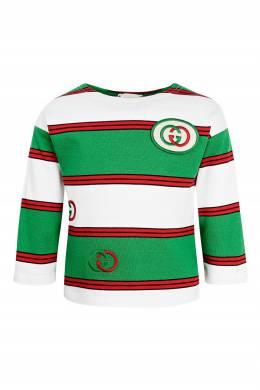 Красно-бело-зеленый джемпер с логотипом Gucci Kids 1256165618
