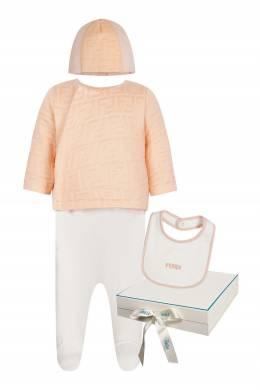 Персиково-белый комплект из трех предметов Fendi Kids 690165614