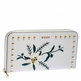 Bally Cream Leather Studded Embroidered Zip Around Wallet 244063