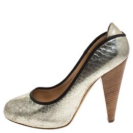 Giuseppe Zanotti Design Metallic Silver Python Embossed Leather Round Toe Platform Pumps Size 40