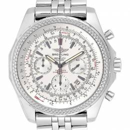 Breitling White Stainless Steel Bentley Chronograph A25362 Men's Wristwatch 49 MM 245320