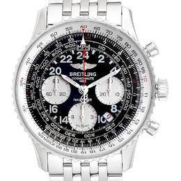 Breitling Black Stainless Steel Navitimer Cosmonaute 02 AB0210 Men's Wristwatch 43 MM 245324