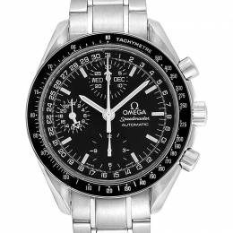 Omega Black Stainless Steel Speedmaster Day Date 3520.50.00 Men's Wristwatch 39 MM 245495
