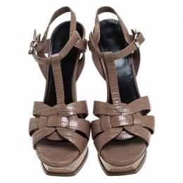 Saint Laurent Paris Brown Lizard Embossed Leather Tribute Platform Ankle Strap Sandals Size 41 245276