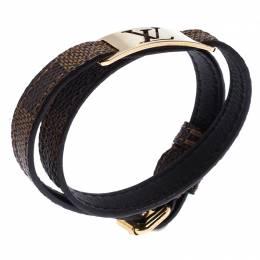 Louis Vuitton Gold Tone Sign It Damier Ebene Leather Bracelet