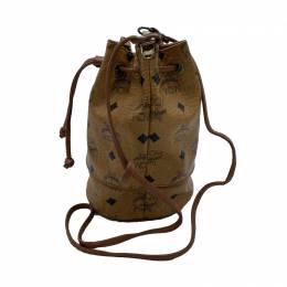 MCM Cognac Visetos Coated Canvas Bucket Shoulder Bag