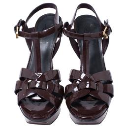 Saint Laurent Paris Burgundy Patent Leather Tribute Platform Sandals Size 37 245075
