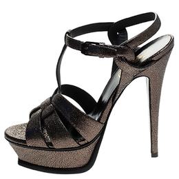 Saint Laurent Paris Gunmetal Cracked Metallic Leather Tribute Platform Sandals Size 37 244646