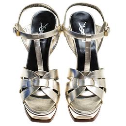 Saint Laurent Paris Metallic Pale Gold Leather Tribute Platform Strap Sandals Size 40 244644