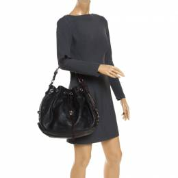 Mulberry Black/Brown Pebbled Leather Drawstring Hobo 243036