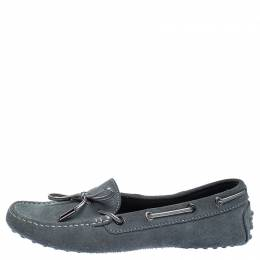 Tod's Grey Suede Leather Gommino Slip On Loafers Size 37 Tod's