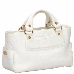 Celine White Leather Boogie Everyday Bag