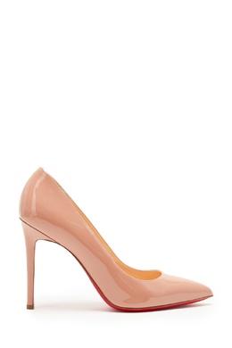 Бежевые лакированные туфли Pigalle 100 Christian Louboutin 10681597