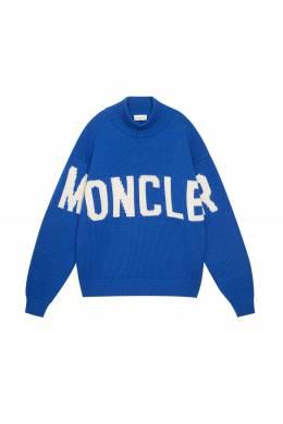 Голубой свитер с логотипом Moncler 34166169