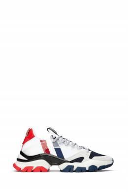 Белые кроссовки с трехцветными вставками Moncler 34166174