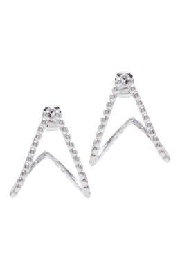 Витые серьги-клаймберы с кристаллами и серебрением Lisa Smith 1168166051