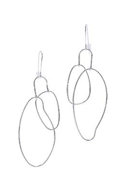 Серебристые серьги с подвесками-овалами Aqua 2203166066