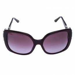 Bvlgari Dark Purple 8081-B Crystal Oversized Square Sunglasses