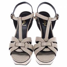 Saint Laurent Paris Cream Textured Leather Tribute Platform Sandals Size 36.5 245871