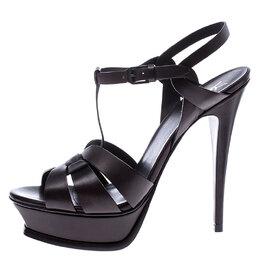 Saint Laurent Paris Brown Leather Tribute Platform Ankle Strap Sandals Size 39.5 245464