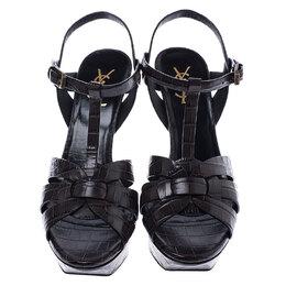 Saint Laurent Paris Brown Croc Embossed Tribute Ankle Strap Sandals Size 39.5 245403