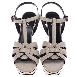 Saint Laurent Paris Cream Textured Leather Tribute Platform Ankle Strap Sandals Size 40 245459
