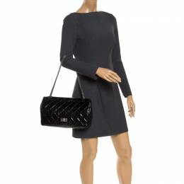 Chanel Black Quilted Patent Leather Reissue 227 Flap Bag 243291