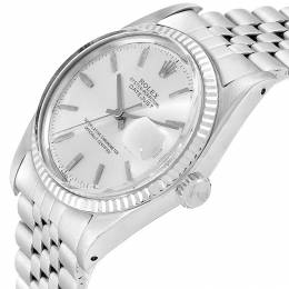 Rolex Silver 18K White Gold Stainless Steel Oyester Perpetual 1601 Men's Wristwatch 36 MM 245545