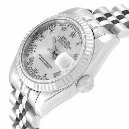 Rolex Silver 18K White Gold Stainless Steel Oyester Perpetual 179174 Women's Wristwatch 26 MM 245543