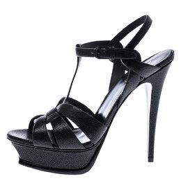 Saint Laurent Paris Black Grained Leather Tribute Platform Ankle Strap Sandals Size 40.5 245421