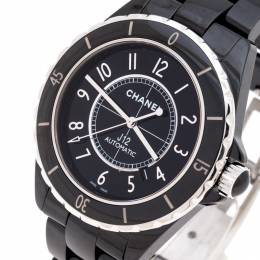 Chanel Black Ceramic And Stainless Steel J12 Men's Wristwatch 42MM 244391