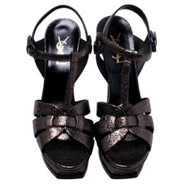 Saint Laurent Paris Metallic Grey Foil Leather Tribute Platform Ankle Strap Sandals Size 39 245408