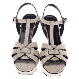 Saint Laurent Paris Cream Textured Leather Tribute Platform Sandals Size 37 245760