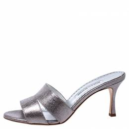 Manolo Blahnik Metallic Silver Leather Lacopo Open Toe Sandals Size 38.5