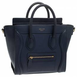 Celine Navy Blue Leather Nano Luggage Tote 244295