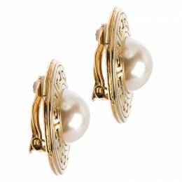 Givenchy Gold Tone Faux Pearl Round Clip-on Stud Earrings